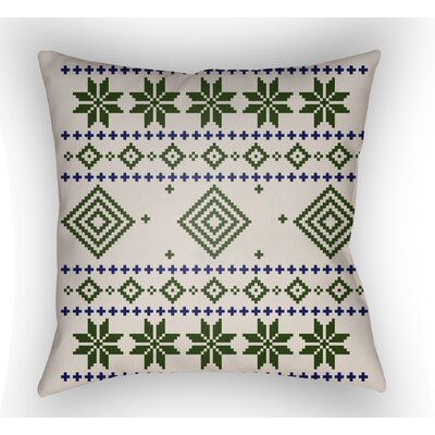 Battlement II Indoor Outdoor Throw Pillow Size: 18 H x 18 W x 4 D, Color: Green/Neutral/Blue