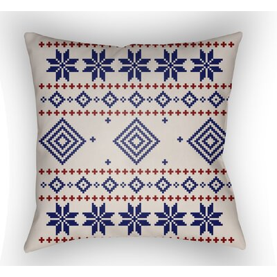 Battlement II Indoor Outdoor Throw Pillow Size: 20 H x 20 W x 4 D, Color: Blue/Neutral/Red
