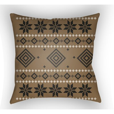 Battlement II Indoor Outdoor Throw Pillow Size: 18 H x 18 W x 4 D, Color: Brown/Neutral/Black