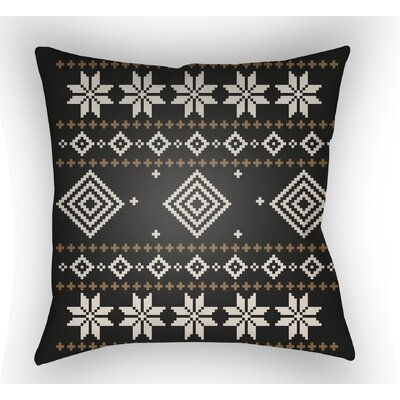 Battlement II Indoor Outdoor Throw Pillow Size: 18 H x 18 W x 4 D, Color: Black/Neutral/Brown