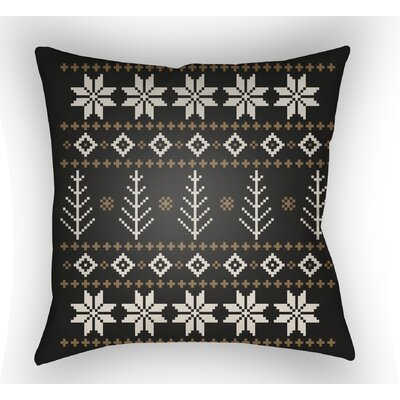 Battlement III Indoor Outdoor Throw Pillow Size: 18 H x 18 W x 4 D, Color: Black/Neutral/Brown
