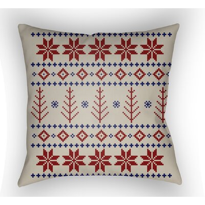 Battlement III Indoor Outdoor Throw Pillow Size: 18 H x 18 W x 4 D, Color: Red/Neutral/Blue