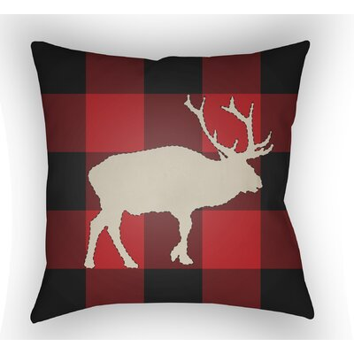 Bighorn Indoor Outdoor Throw Pillow Size: 18 H x 18 W x 4 D, Color: Red/Black/Neutral