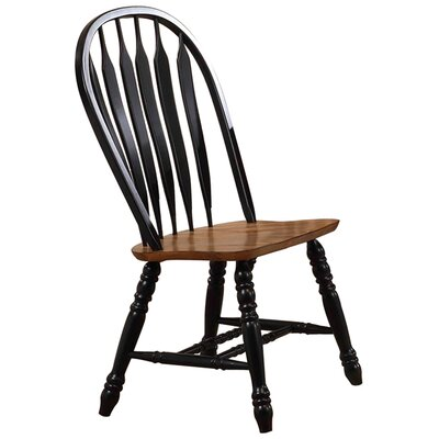 Florentia Solid Wood Dining Chair (Set of 2) Color: Rustic Oak and Rubbed Black