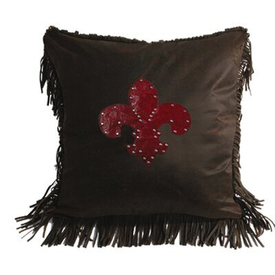 Applewood Faux Tooled Fleur De Lis Throw Pillow