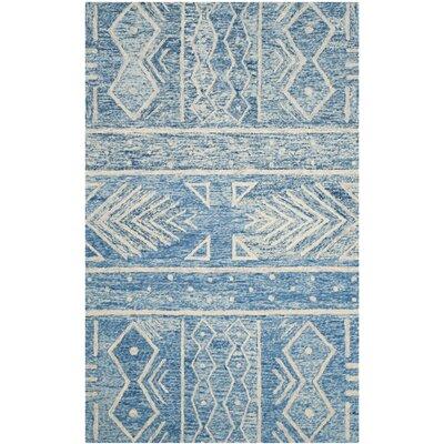 Shilah Hand-Tufted Blue/Ivory Area Rug Rug Size: 6 x 9