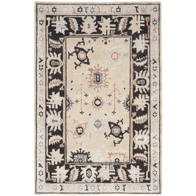 Morrison Hand-Knotted Beige/Charcoal Area Rug Rug Size: Rectangle 4 x 6