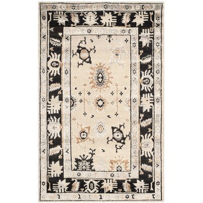 Morrison Hand-Knotted Beige/Charcoal Area Rug Rug Size: Rectangle 5 x 8