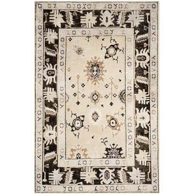 Morrison Hand-Knotted Beige/Charcoal Area Rug Rug Size: Rectangle 8 x 10