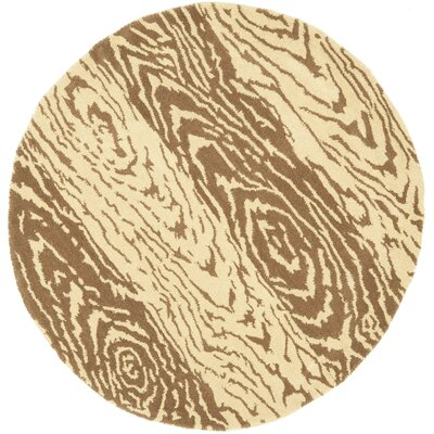Layered Faux Bois Hand-Loomed Sequoia Area Rug Rug Size: Round 4 x 4
