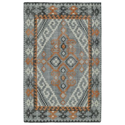 Beaver Hand-Knotted Grey Area Rug Rug Size: 5'6