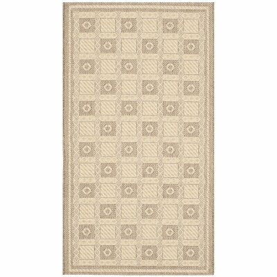 Grand Parquet Creme / Brown Area Rug Rug Size: 4 x 57