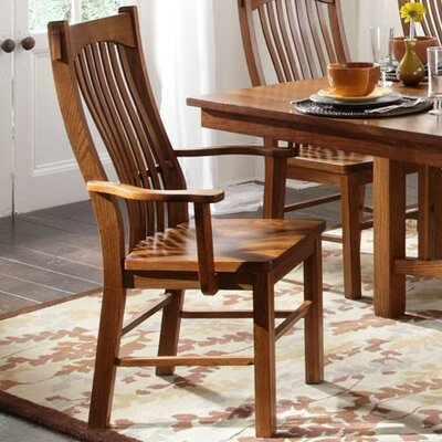 Corwin Slatback Arm Chair (Set of 2) Arm Chair Finish: Mission Oak