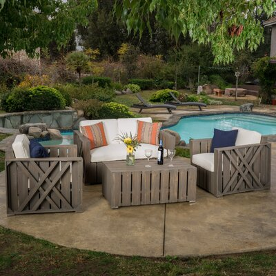 4 Piece Deep Seating Group with Cushion Finish: Gray