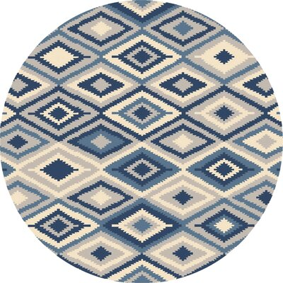 Antonetta Beige/Navy Indoor/Outdoor Area Rug Rug Size: Round 8
