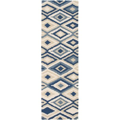 Cassava Beige/Navy Indoor/Outdoor Area Rug Rug Size: Runner 26 x 8