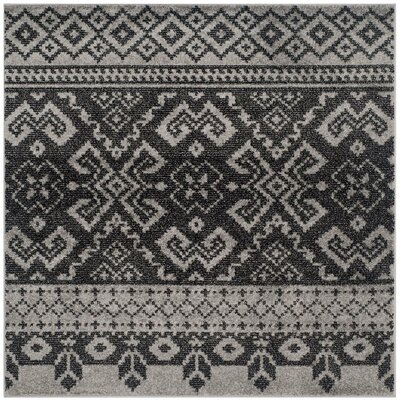 Gatineau Silver/Black Area Rug Rug Size: Square 4
