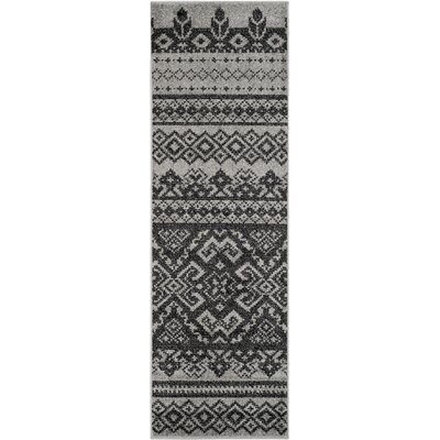 Gatineau Silver/Black Area Rug Rug Size: Runner 26 x 8