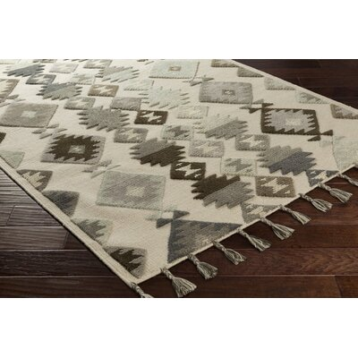 Hand-Woven Beige/Gray Area Rug Rug Size: 8 x 10