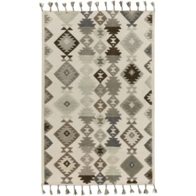 Hand-Woven Beige/Gray Area Rug Rug Size: 4 x 6