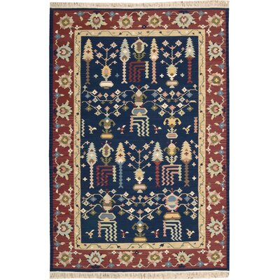 Matahpi Hand-Knotted Navy Area Rug
