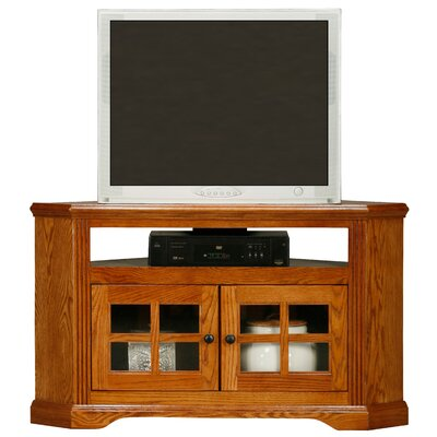 Glastonbury 46.3 TV Stand Door Type: Plain Glass, Color: Dark Oak