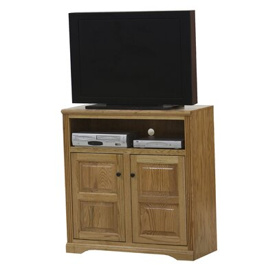 Glastonbury 41.3 TV Stand Door Type: Plain Glass, Color: Dark Oak