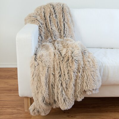 Lonepine Shag Throw Blanket Color: Taupe