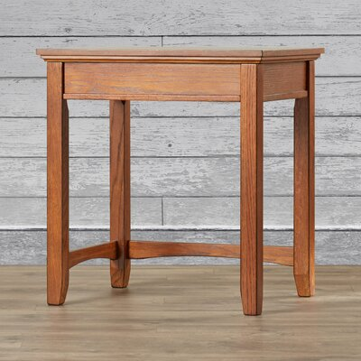 San Luis Corner Table in Medium Brown Oak