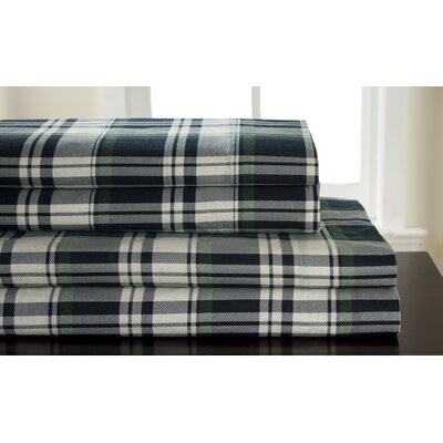 Vinita 100% Cotton Hutton Plaid Flannel Sheet Set Size: Queen