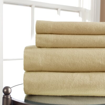 Amity 100% Cotton Flannel Sheet Set Color: Cafe, Size: Full