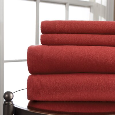 Amity 100% Cotton Flannel Sheet Set Color: Red, Size: Twin