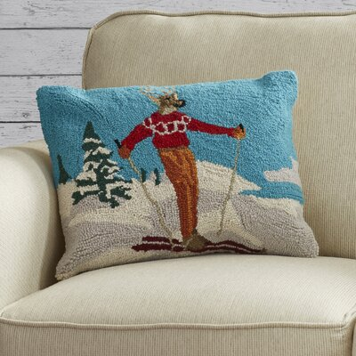 Pallaton Deer Skiing Hook Wool Throw Pillow