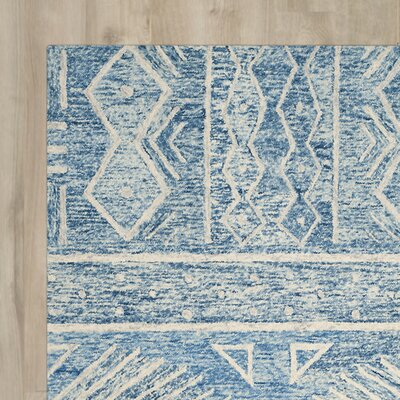 Shilah Hand-Tufted Blue/Ivory Area Rug Rug Size: Square 5
