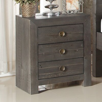 Pompano Beach 3 Drawer Nightstand Color: Ash
