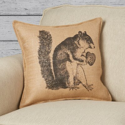 Korovin Squirrel Burlap Throw Pillow