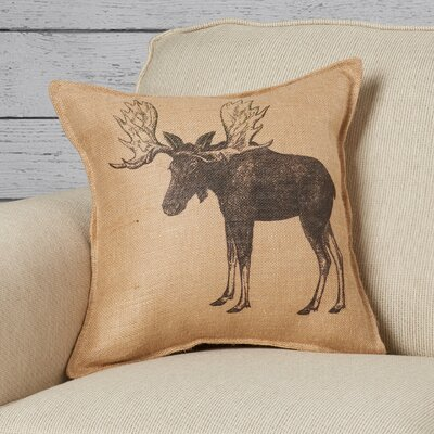 Koniag Moose Burlap Throw Pillow