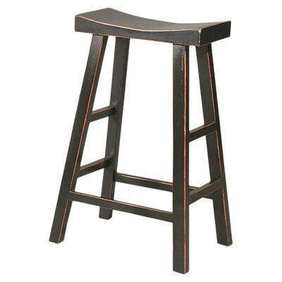 Edwards 25 Bar Stool (Set of 2) Finish: Gloss Black/Light Wood