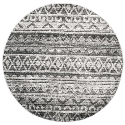 St. Ann Highlands Ivory/Charcoal Area Rug Rug Size: Round 4