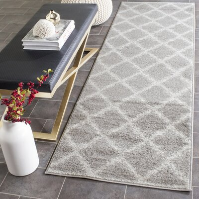 St. Ann Highlands Silver/Ivory Area Rug Rug Size: Runner 26 x 12