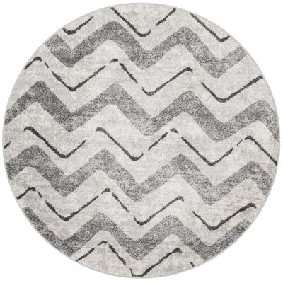 St. Ann Highlands Silver/Charcoal Area Rug Rug Size: Round 6