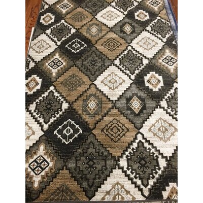 Abinante Black / Ivory Area Rug Rug Size: 51 x 77