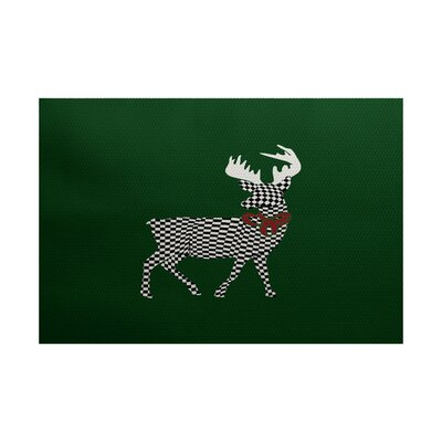 Christmass Green Indoor/Outdoor Area Rug Rug Size: 3 x 5