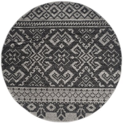 Gatineau Silver/Black Area Rug Rug Size: Round 6