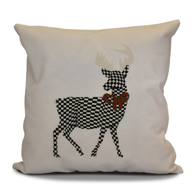 Christmas Merry Deer Throw Pillow Size: 16 H x 16 W, Color: White