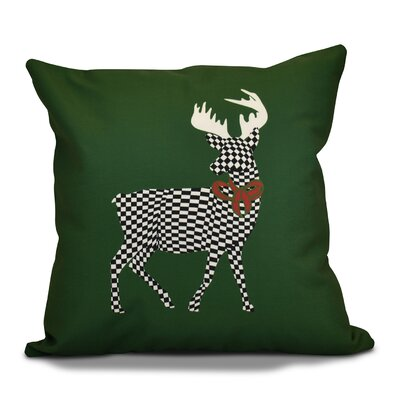 Decorative Holiday Animal Print Outdoor Throw Pillow Size: 18 H x 18 W, Color: Green