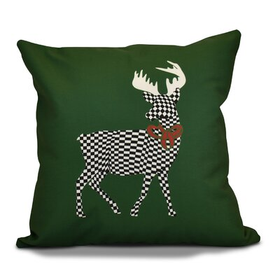 Christmas Merry Deer Throw Pillow Color: Green, Size: 26 H x 26 W