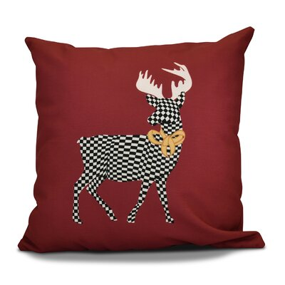 Christmas Merry Deer Throw Pillow Size: 18 H x 18 W, Color: Cranberry