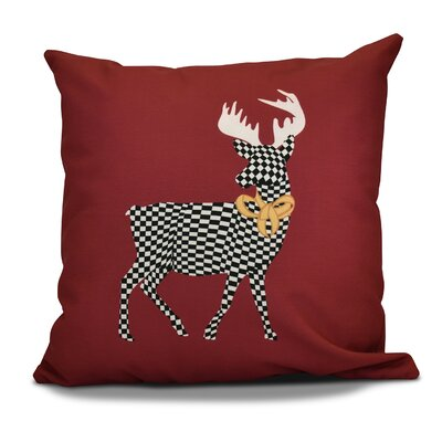 Decorative Holiday Animal Print Outdoor Throw Pillow Size: 16 H x 16 W, Color: Cranberry