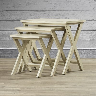3 Piece Edgecomb Nesting Table Set Finish: White